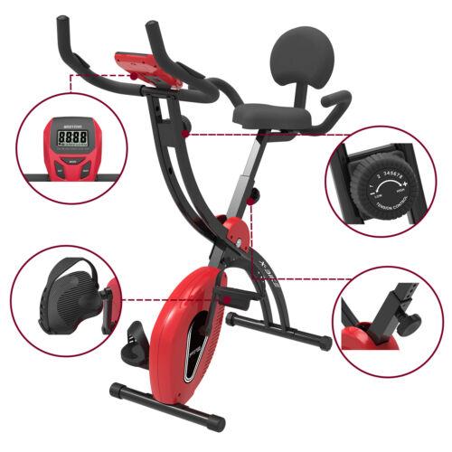 Indoor Heimtrainer Ergometer Fahrrad Trimmrad Fitnessbike klappbar Cardio RotPulsmessung✔1.5 kg Schwungmasse✔stufenlos Verstellbar✔
