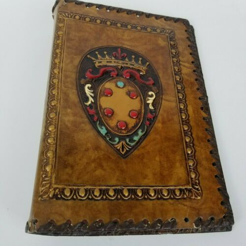 Vintage Hand Tooled Leather Book Cover with Crown and Ornate Made In Italy