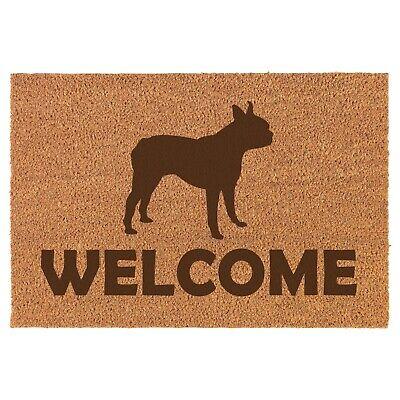 Coir Door Mat Entry Doormat Welcome Boston Terrier (Boston Terrier Door Mat)