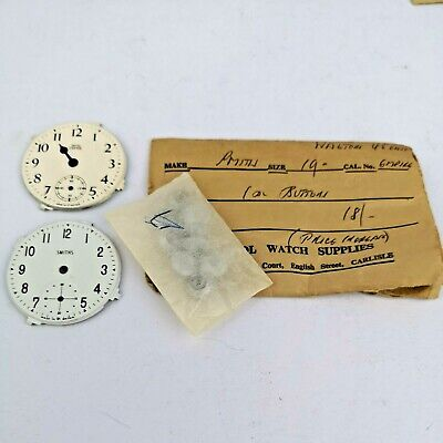Lot of Rare Vintage Smiths Empire Pocket Watch Crowns/Buttons & 2 Dials (MB18)