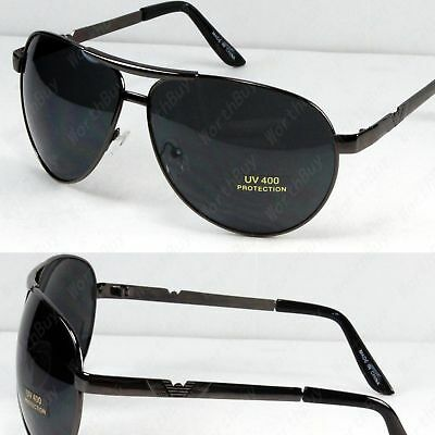 New Mens Pilot Aviator Fashion Sunglasses Shades Retro Wrap Black Gold Sports