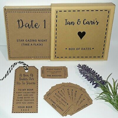 Custom Box of 12 Dates Date Night Cards Ideas Love Tokens Valentines Wedding