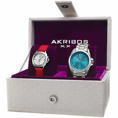 New Women's Akribos XXIV AK821SS Swiss Quartz Silver-tone Diamond Date Watch Set