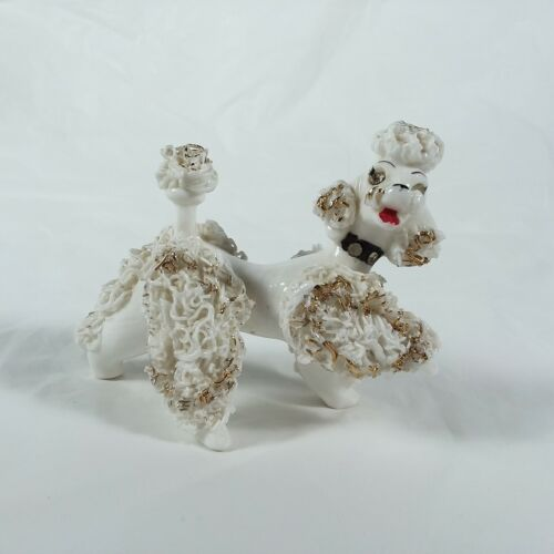 Poodle With Jewel Eyes Figurine Spaghetti Ceramic Vintage Made In Japan