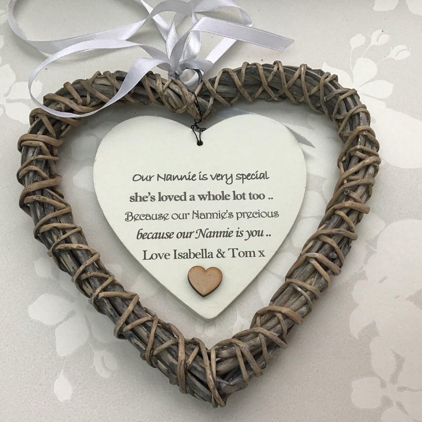 Shabby personalised Chic NANA Nanny NANNIE Granny ~ ANY NAMES Gift Willow Heart - 233008523202
