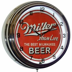 16 Miller High Life Beer Sign White Neon Wall Clock Chrome Garage Bar Man Cave
