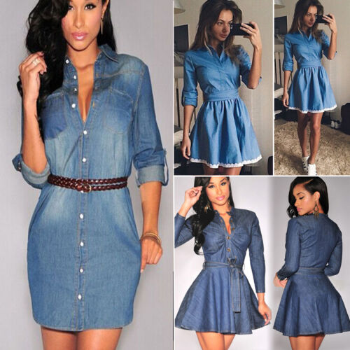 Dress - Fashion Women Denim Short Mini Dress Jean Long Sleeve Casual Party Shirt Dress