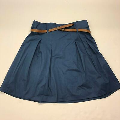 Zara Basic Navy Blue A-Line Skirt Sz L Large Belted Pleated Front Flare Women's