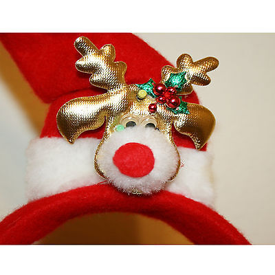 3 Headed Dog Costume (3 Christmas Holiday Pet Dog Head Wear Reindeer Top Hat and Red)