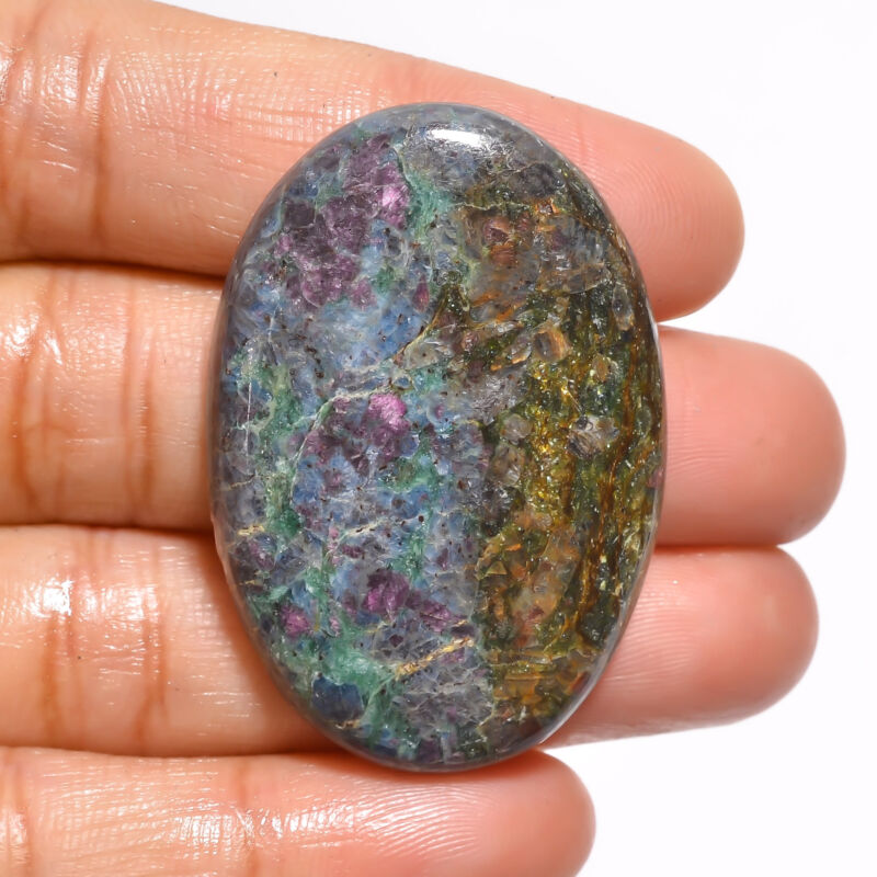 Natural Ruby Fuchsite Oval Cabochon Loose Gemstone 71.5 Ct. 41X21X6 mm EE-19154