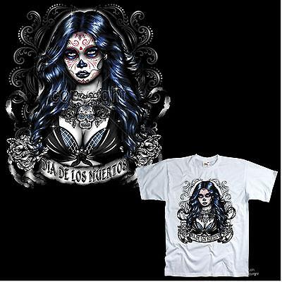 * T-Shirt Tattoo Dia de los muertos vorlagen sugar Mexican Skull Style *1042