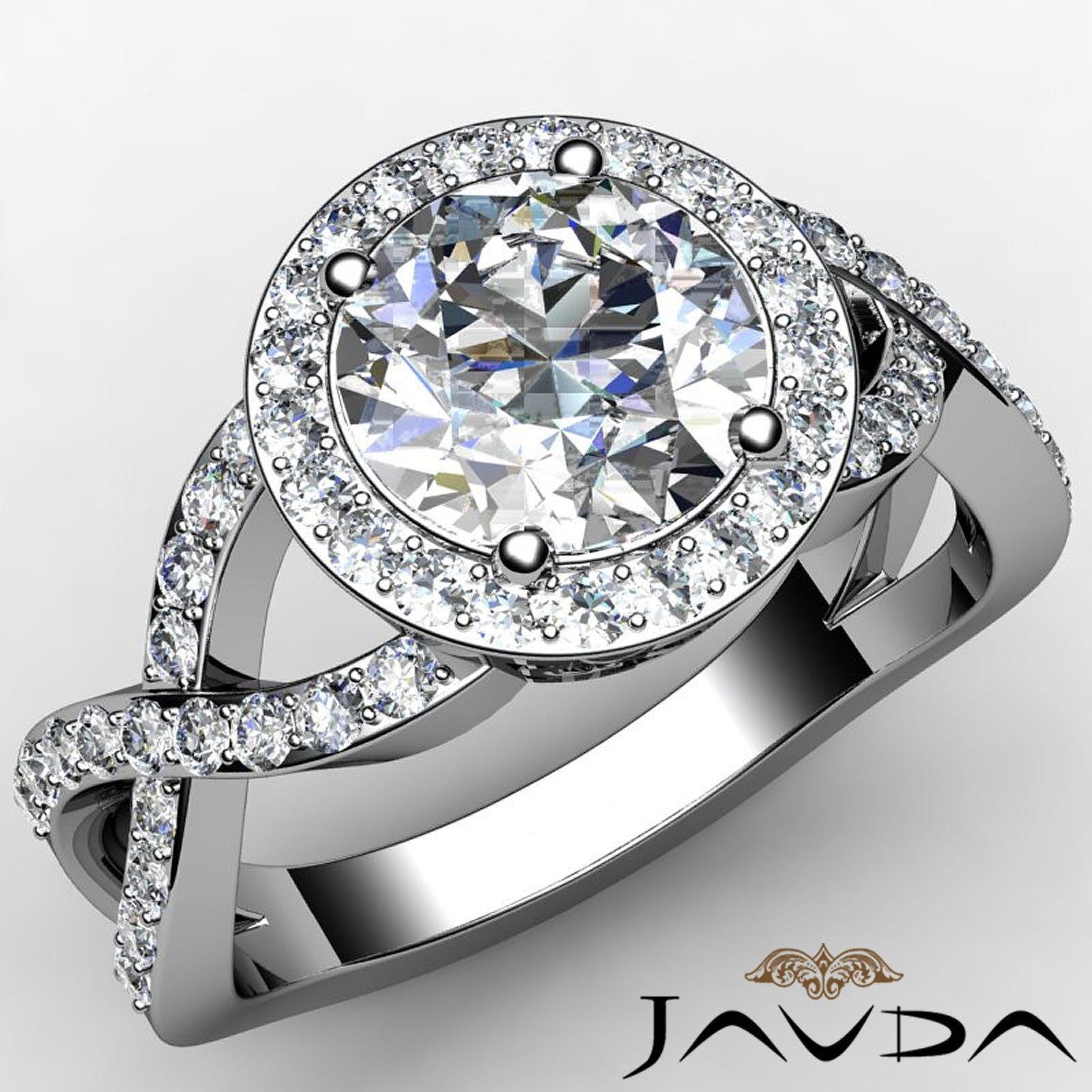 Halo Pave Setting Cross Shank Round Cut Diamond Engagement Ring GIA H VS1 2.2Ct