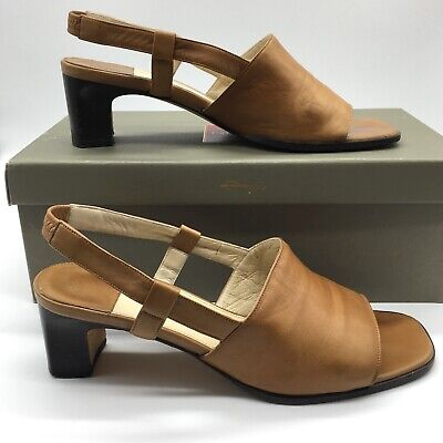 Carmel Leather Heels - Cole Haan Lesa sling back heels size 7.5B leather maple carmel brown with box
