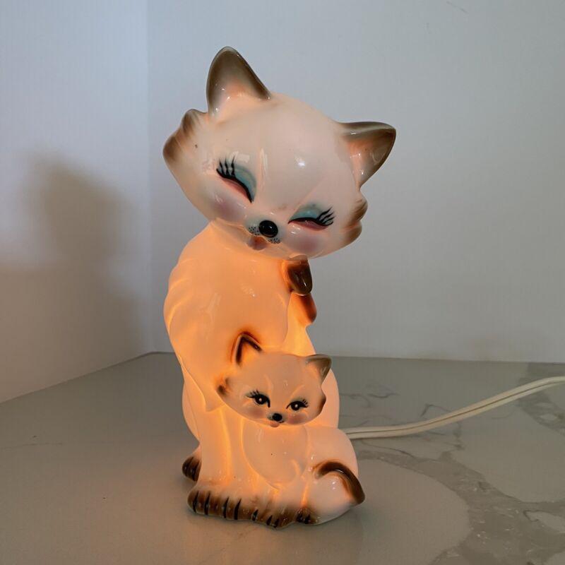 Vintage Night Light Cats Mom Baby Kitty Kitten Ceramic Kitschy Cute Works