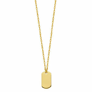 14K Yellow Gold Dog Tag Pendant Necklace, 16