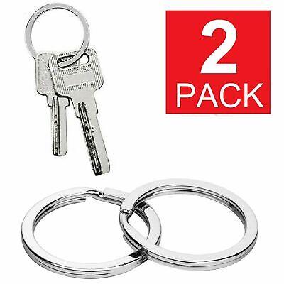 2-Pack Stainless Steel Metal Flat Key Rings Keyring Keychain Split Ring Hoop US Collectibles