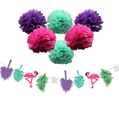 1SET Flamingo Flower Garland Tropical Coconut leaves For Birthday Party Flag - Coconut Decorations For Parties