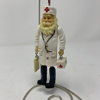 "Jointed Doctor Christmas Tree Ornament Holiday 5"" hanging ornament red cross"