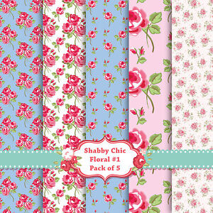 Shabby Chic Floral A4 Card Stock 5 PACK! Scrapbook Craft Decoupage Card SC1