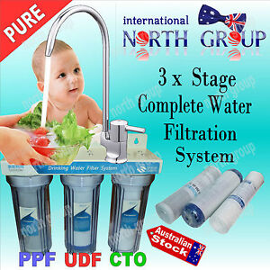 NEW 3 STAGE UNDER SINK DRINKING WATER COMPLETE FILTER SYSTEM - ACTIVATED CARBON