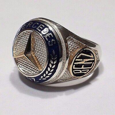 Mercedes Benz Ring Massiv 925 K Sterling Silber Herrenring