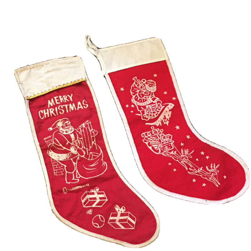 Christmas Xmas Vintage Red Stenciled Stockings