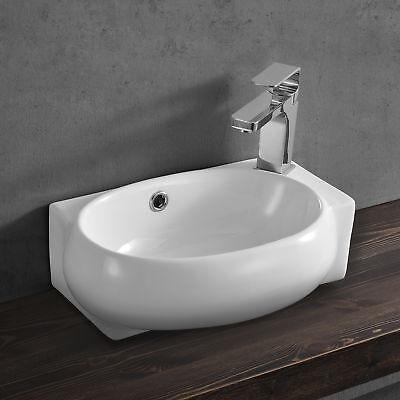 [neu.haus] Waschbecken Gäste WC 42x28cm Keramik weiß Waschtisch Wand Aufsatz