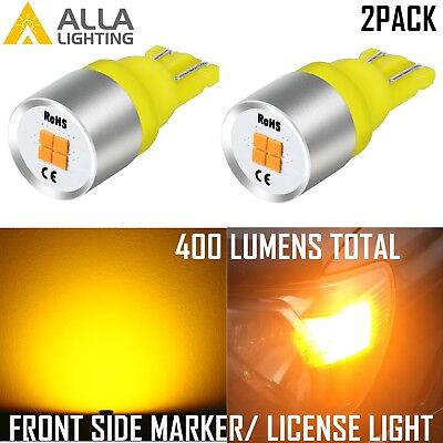 AllaLighting LED 168 Front Side Marker/License Plate Tag Light Bulb Amber Yellow ()