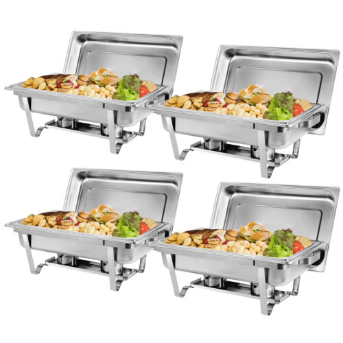 4 Packs Chafing Dish 8 Quart Stainless Steel Full Size Buffet Rectangular Chafer Business & Industrial