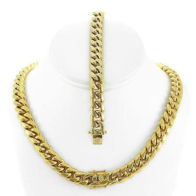 14k Gold Close Set - Mens Large Thick 14K Gold Plated Miami Cuban Chain Bracelet Set Tight Close