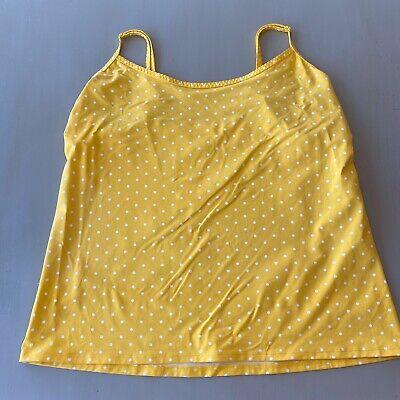 Lands End Womens S 16 Tank Top Swim Suit Yellow White Polka Dot Adjustable B19   Dot Tank Swimsuit