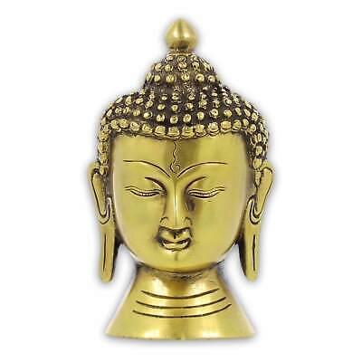 Buda Cabeza Latón Skupltur Figura Estatua Ca 14cm Tíbet Nepal Indien Meditación