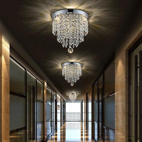 Flush Mount Chrome Crystal Chandelier Ceiling Fixture Pendan