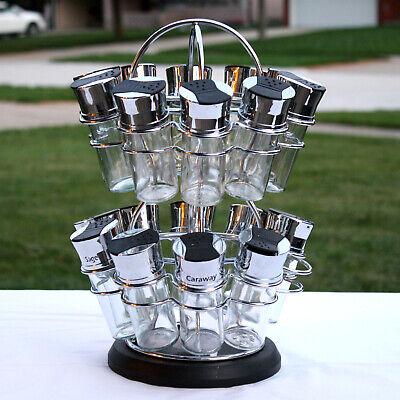 Olde Thompson Spice Rack Revolving Carousel Lazy Susan Glass Chrome Jars Flower Olde Thompson Spice Jars