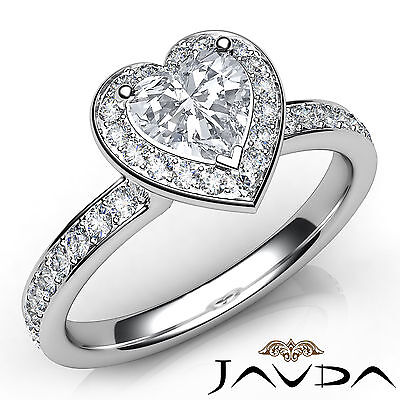 Halo Cathedral Micro Pave Heart Diamond Engagement Gold Ring GIA F VS1 0.95 Ct