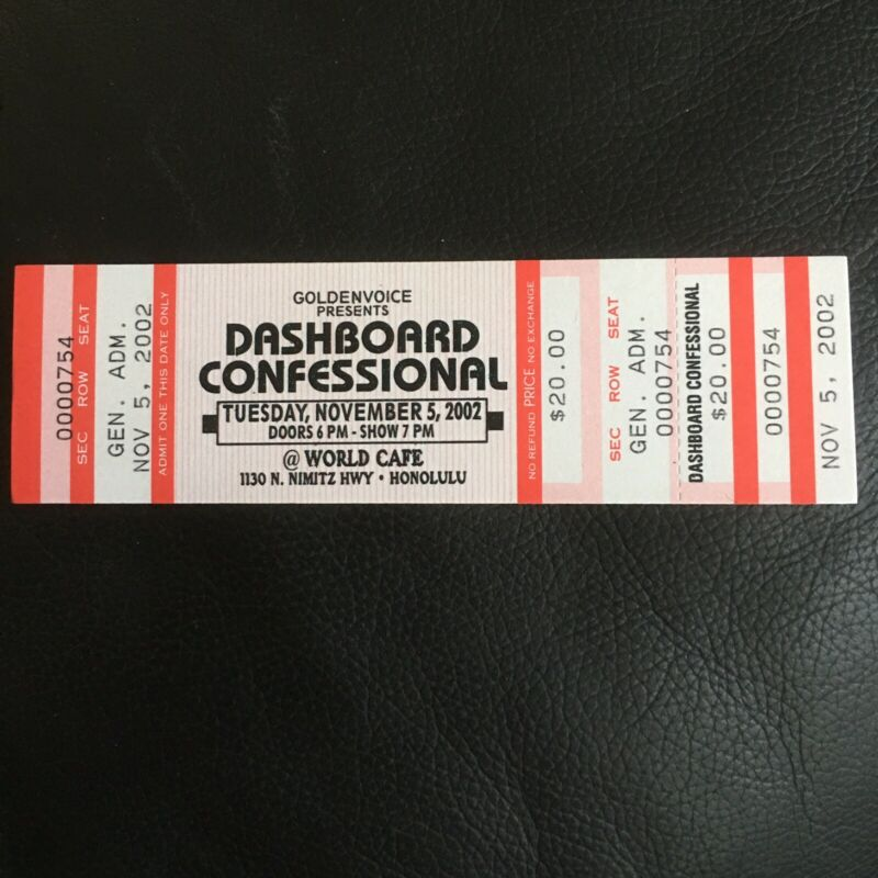 GOLDENVOICE PRESENTS DASHBOARD CONFESSIONAL 2002 ORIGINAL HAWAII CONCERT TICKET