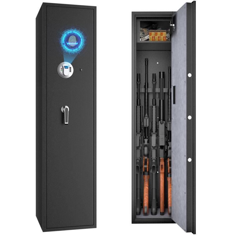 Costway Biometric Fingerprint Rifle Safe Quick Access 5-Gun Cabinet w/ Lockbox