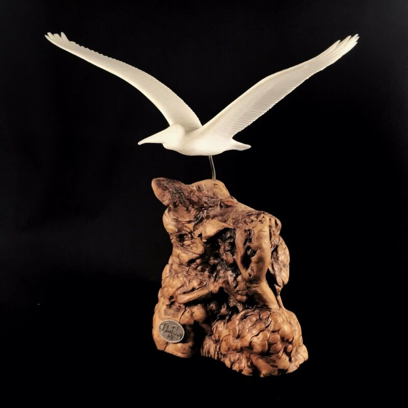 John Perry Flying Pelican Sculpture On Burl Driftwood Base