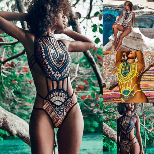 Womens Tribal African String High Neck Monokini Swimwear Swimsuit Bathing Bikini