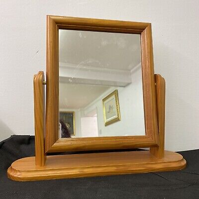 Dressing Table Solid Pine Mirror Vintage Style 38 x 44cm Tilting