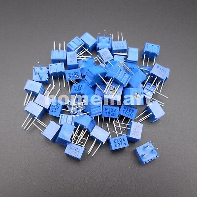 50pcs Potentiometer Trimmer Variable Resistor 3362p-103 10k Ohm 3362-p103 3 Pins