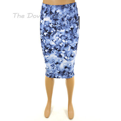 APT. 9 X-SMALL Brushstroke FLORAL Print PENCIL SKIRT Straight WHITE & BLUE - Brushstroke Floral Print Dresses