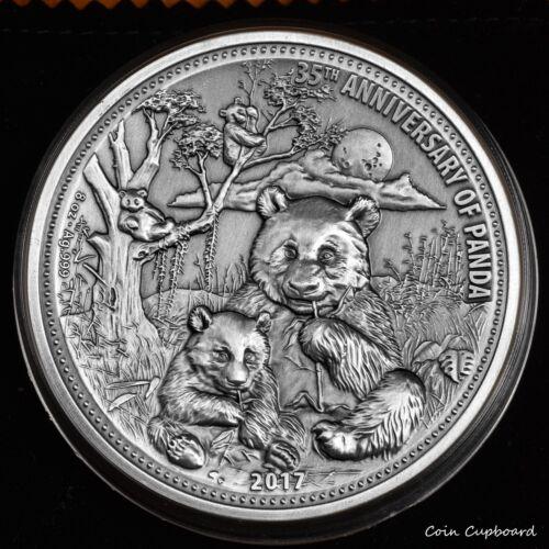 2017 - FIJI $5 PANDA (35th) -70mm ultra high relief in antique finish 8 oz coin.