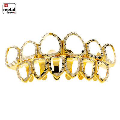 Herren Diamantschliff Grillz Sechs Offenes Zifferblatt Gold Farbig Zähne (Grillz Gold Diamant Zähne)