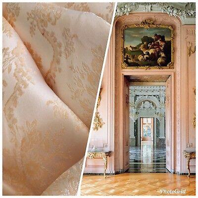 NEW SALE! Designer Brocade Jacquard Fabric- Peach Pink Floral Damask](Pink Damask)