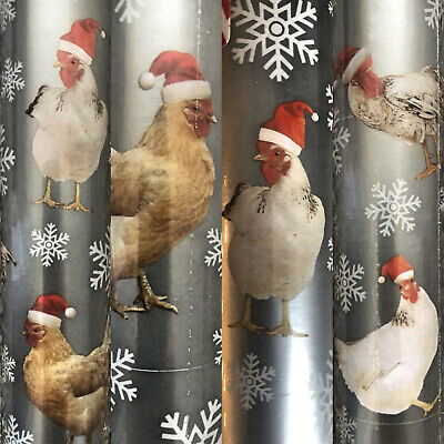 1 Extra Large Roll Santa Hat Chicken Christmas Gift Wrapping Paper 100 sq ft  ()