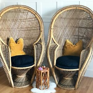 Vintage wicker peacock chairs