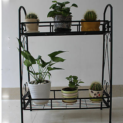 2 TIER Metal Shelves Indoor Plant Stand Display Flower Pots Racks Outdoor Garden