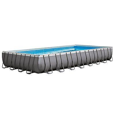Intex 32 x 16 x 4.3 Foot Ultra Erect Rectangular Pool Set w/ Pump and Ladder