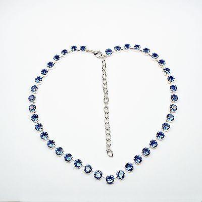 Damen Kette Collier Tennis 925 Silber Versilbert Swarovski Kristalle Saphir Blau